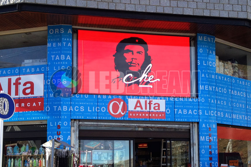 Outdoor LED screen behind vitrine for advertising. Pas de la Casa (Andorra)