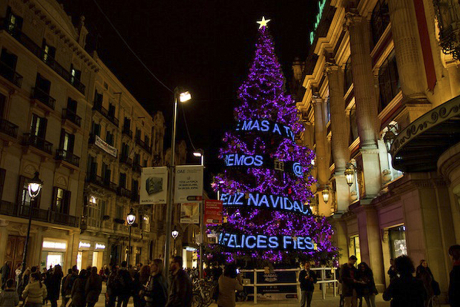 Rental LED tarp for Tous Christmas tree, Barcelona